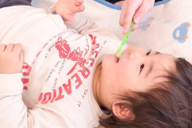 歯ブラシしてもらう幼児