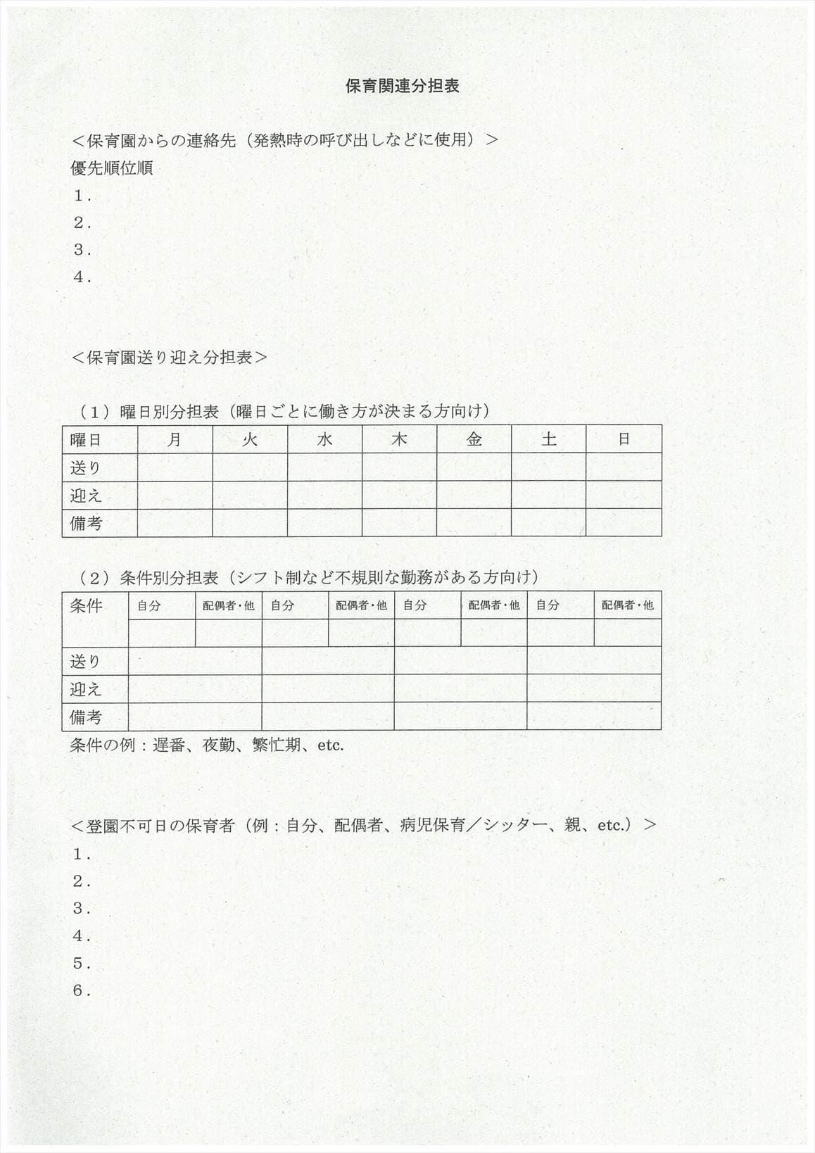 保育関連分担表