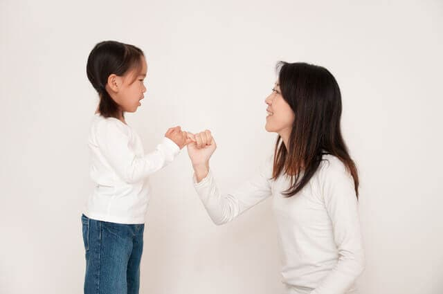 約束する親子