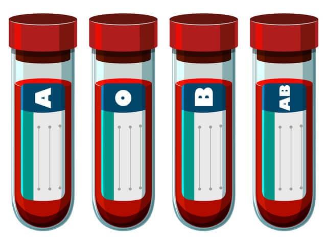 血液型の書いた試験管のイラスト