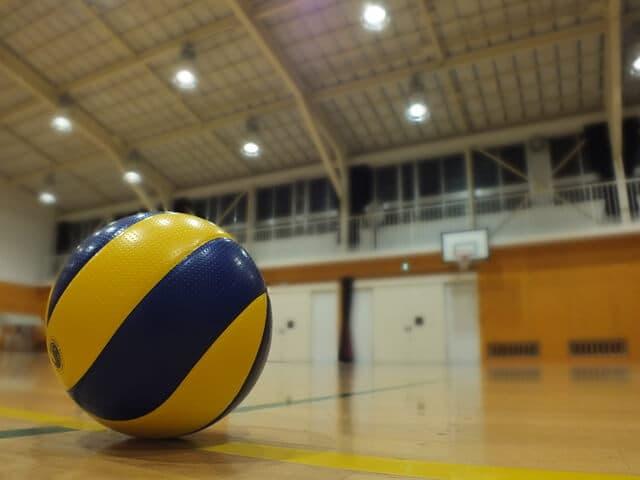 体育館とバレーボール