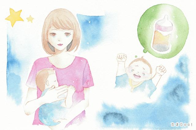 夜間授乳しているママ