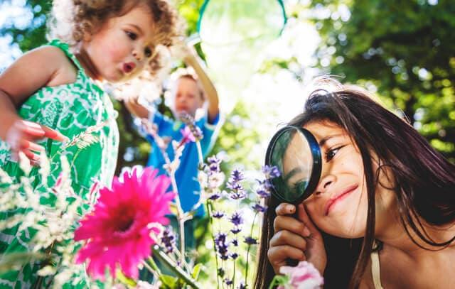 花を観察する子ども