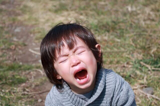 泣いている2歳児
