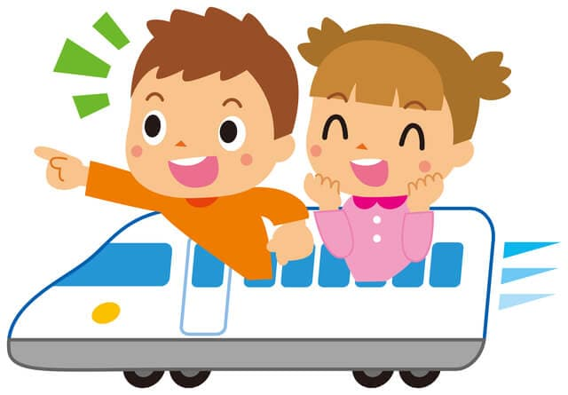 新幹線にのる子ども