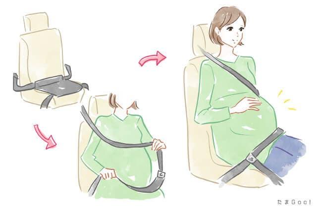 シートベルトをする妊婦
