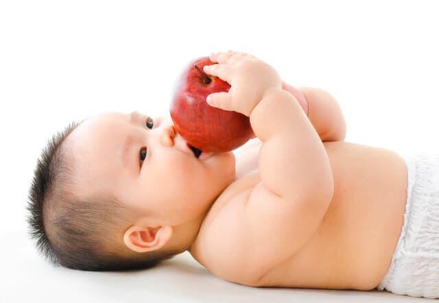リンゴを咥える赤ちゃん