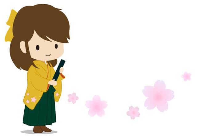 袴女性のイラスト