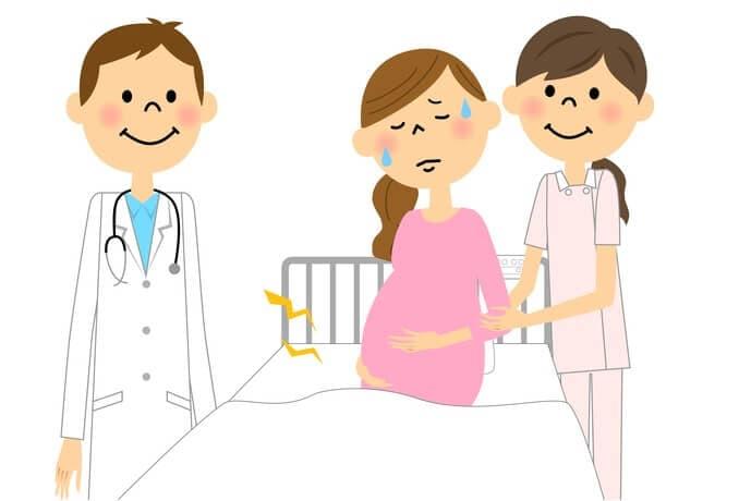 陣痛の妊婦