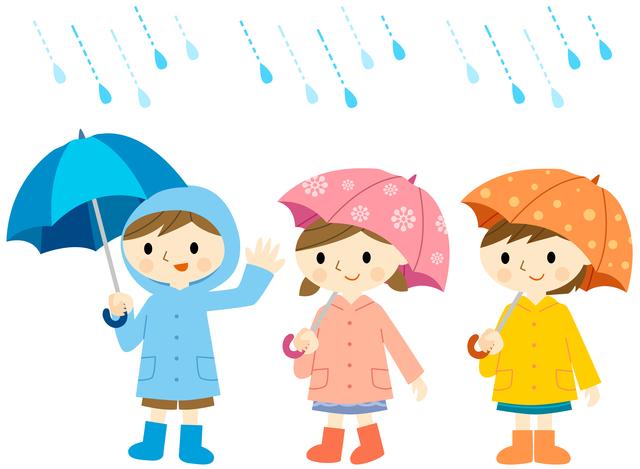 並んで傘をさす