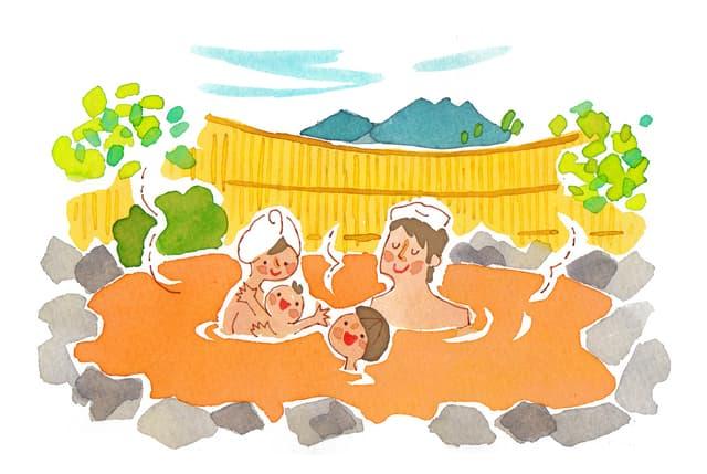 温泉に入る赤ちゃん