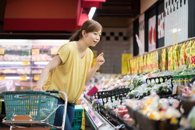 スーパーマーケットで買い物