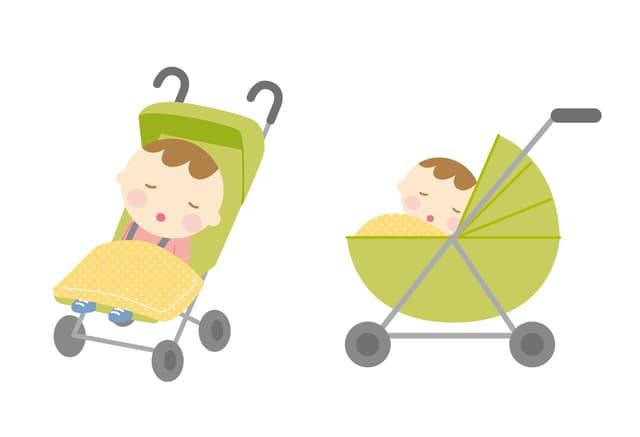 赤ちゃんをベビーカーに乗せる